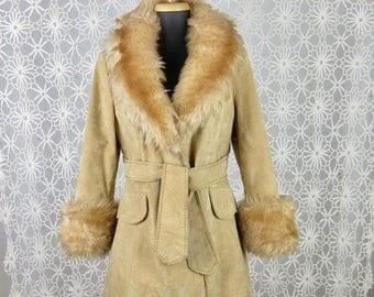 Vintage 1960s 1970s Boho Faux / Vegan Shearling Jacket, Sz M, L
