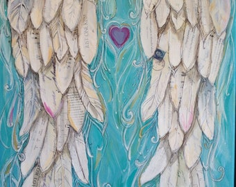 Angel Wings decor PRINT of my Wings of Love  mixed media painting  entitled THE KISS