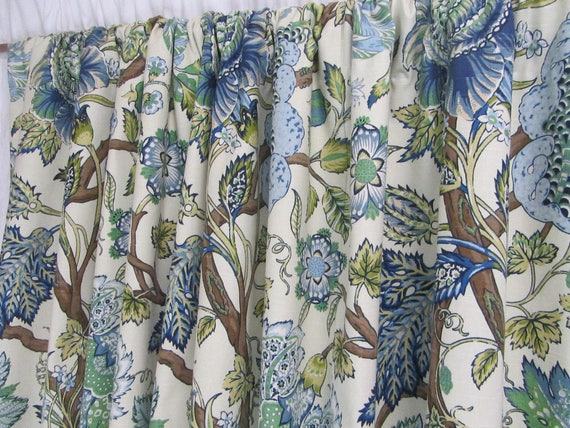 "Blue Green Curtains, Large Floral Curtain Panels, Modern Jacobean Floral Window Curtains, Bright Drapes, Rod-Pocket, One Pair 50""W"