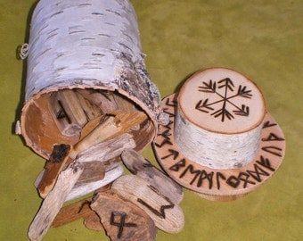 Lake Superior Driftwood Rune Set and Birch Bark Casting Cup