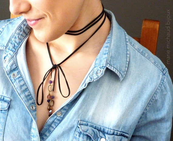 Purple choker,Black leather choker,Long string choker,Long purple choker,Boho choker,Boho jewelry,Hippie chic,Long black purple necklace
