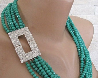Crystal necklace, crystal bib necklace, multi strand green crystal necklace, special occasion Bold Chunky Statement Crystal Bib Necklace