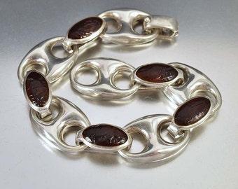 Vintage Sterling Silver Anchor Bracelet, Nautical Chain Amber Bracelet, Gucci Marine Link Bracelet