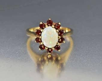 Vintage 12K Gold Opal Garnet Halo Ring, Alternative Opal Engagement Ring, Statement Garnet Ring, Cocktail Birthstone Ring, Pastel Opal Ring