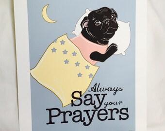 Praying Black Pug - 7x9 Eco-friendly Print
