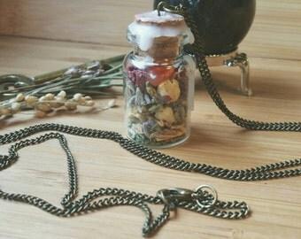 INSPIRATION- Herbal Crystal Talisman Spell Bottle Necklace