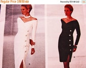 SALE 25% Off 90s Vogue Pattern designer Bellville Sassoon Side Slit Off Shoulder Dress, Cocktail Dress, Evening Gown Pattern size 12 14 16