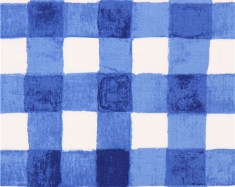 203446 blue white checkered fabric by Michael Miller USA