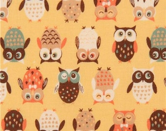 206421 light yellow-orange fabric colorful cute owl from Japan