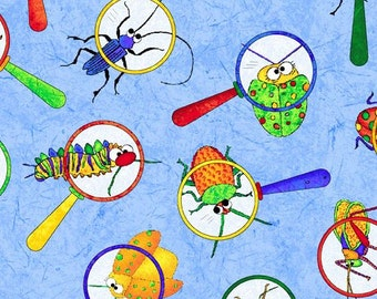 211115 blue fabric magnifying glass insect by Northcott I Spy in the Amazon