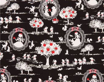 213006 black cute Snow White themed fairy tale oxford fabric by Kokka