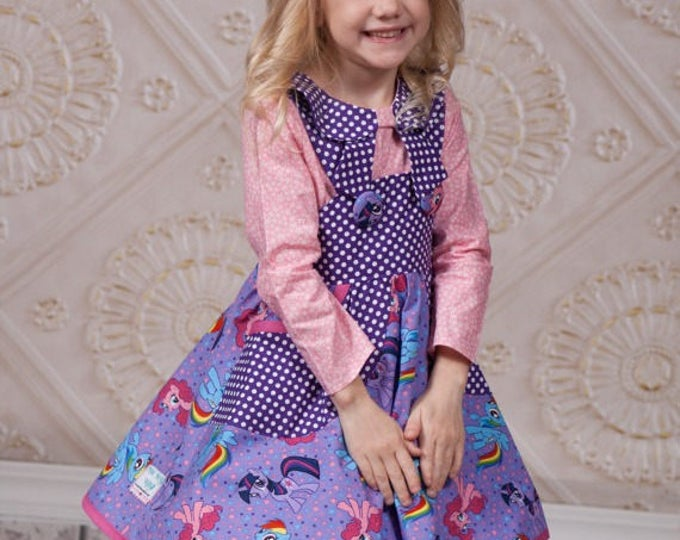 My Little Pony Dress - Rainbow Dash - Girls Birthday Outfit - Toddler - Little Girls - Purple - Pink - Circle Skirt - Jumper - 2T to 10 yr