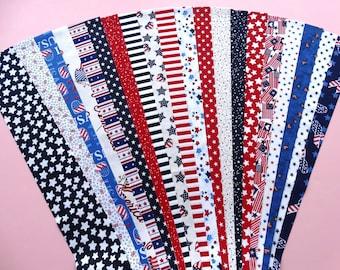 Fabric Patriotic Stars & Stripes Cotton Jelly Roll Quilting Strip Pack Material Die Cut 20 Strips NoDups (JR120-PATR_SSgdbd)
