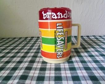 Vintage 1980's Life Savers Five Flavor Deka Plastic Mug With Cap
