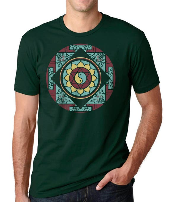 Men's Mandala T-shirt, Graphic Tee, Unisex, Yin Yang, Lotus, Yoga T-shirt, Gift for Him, Art T-shirt, Cool t-shirt