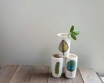 Leaf vase, set of three leaf vases, blue leaf ceramic vases, woodland home decor, spring  leaf design.