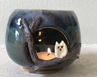 Midnight owl planter or candle holder
