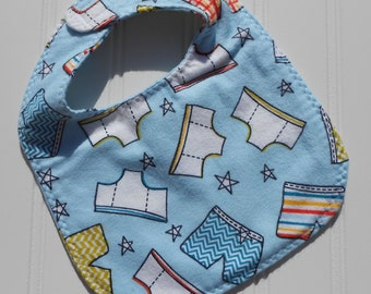 READY TO SHIP 100% cotton flannel baby bib - bright cheerful underwear / undies print