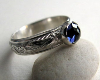 Iolite Ring, Sterling Silver Gemstone Ring, Size 7.5 Blue Purple Ring