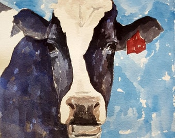 Blue Holstein 2 original watercolor painting Cow painting Cow art Holstein cow painting Holstein cow art Black and white cow painting