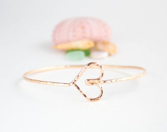 Handmade Heart Bangle - 14K Rose Gold Filled