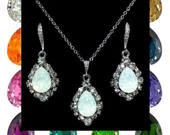 Bridal Jewelry Set, Teardrop Wedding Necklace, Dangle Bridal Earrings, Swarovski Wedding Jewelry, Bridesmaid Jewelry, Gift for Her, BIJOUX