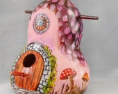 Mushroom Hand Painted Thatched Cottage Birdhouse Gourd