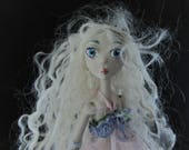 ON HOLD for carolsquared1 Lagoon, porcelain jointed mermaid creature, puppet doll, handmade in the USA free shipping
