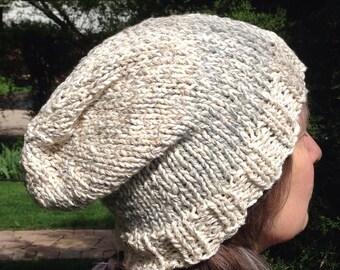 Slouchy hat, hand knit, winter spring fall slouch beanie, soft M L XL white gray blue-gray cotton silk ski snow toque men women crochet 308