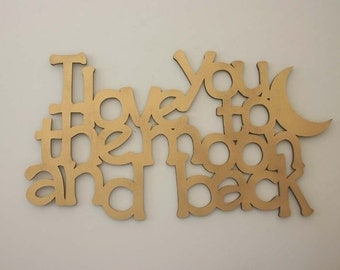 I love you to the moon and back Sign Wood Gold Sign Wedding Gift