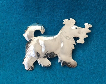 Silver Scottie Dog Pin
