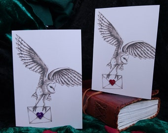 Owl Post! Blank card with Barn Owl - Hand embellished with glitter love heart - romantic note or anniversary - Harry Potter card, post owl