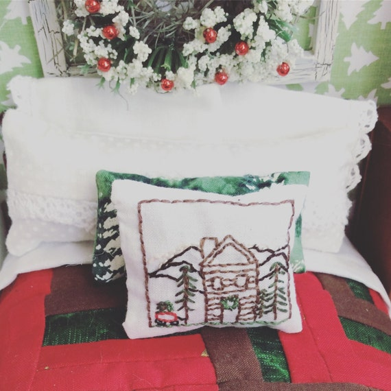 Miniature Mountain Cabin Embroidery Pillow - Miniature and Regular Size PDF Instant Download