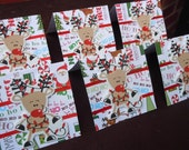 Reindeer Wrapped in Christmas Lights Blank Cards 3x3 (6)