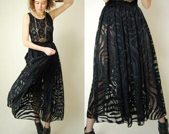Sheer Maxi Skirt Vintage Sheer Black Satin Burn Out Draped Maxi Skirt (26 waist)