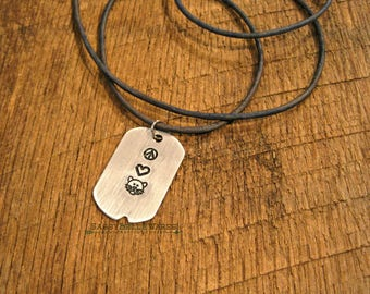 Peace Love Cats Dog Tag Leather Necklace cat kitty animal lover pet blue grey handstamped adjustable long length brushed silver heart