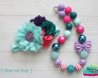 Chunky necklace or baby headband set { Hear me Roar } dinosaur, purple teal rainbow, first Birthday, party favor cake smash photography prop