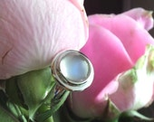 Zoe Rice's Custom Sterling Silver Ring with Blue Sheen Moonstone Cabochon, Balance Listing (Reserved)