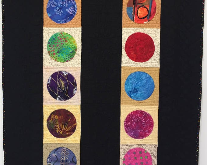Circles of Deep Reflection 28x42 inch modern quilted wallhanging