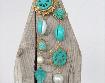 Large assemblage asymmetrical earrings in turquoise