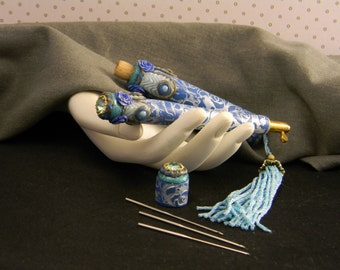 Blue Damask Tambour Embroidery Tool Set