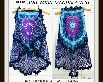 CROCHET PATTERN, Mandala Bohemian sweater Vest with summer style collar.  Sizes from 10 years to adult XXL. #1136, women and child clothing