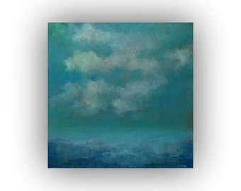 Blue Abstract Seascape- Night Sky Ocean and Clouds Oil Painting on Canvas- 20 x 20 Original Palette Knife Art