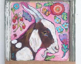 Small Framed Folk Art Goat Painting