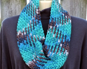 Plaid Cowl Scarf..Hand Crocheted..Turquoise, Brown, Teal, Taupe...Planned Pooling Crochet..Winter..Christmas Gift..Women...Teen Girl