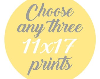 SALE - Mix and Match - Create Your Own Set - Choose Any Three 11x17 Inch Prints for 50 Dollars - You Choose The Prints and Colors