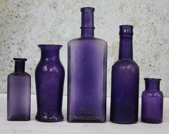 PURPLE BOTTLE Lot - Amethyst Antique Bottles- Large Bottles- Worcestershire Sauce- Chemical Bottle- Instant Collection of Antique Bottles R4