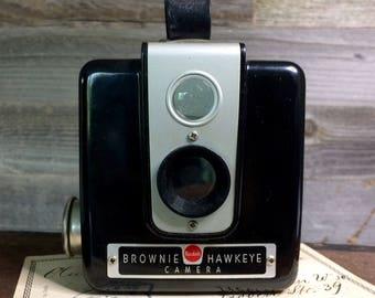 Vintage Brownie Hawkeye- Kodak CAMERA Industrial Black Moulded Bakelite Body Vintage Photography- Photo Prop- 1950's Camera- K29