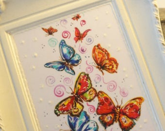 Butterfly art, Butterfly print, mixed media art, upcycled art, Original art, OOAK original art, Mini Painting,  repurposed  Vintage Frame
