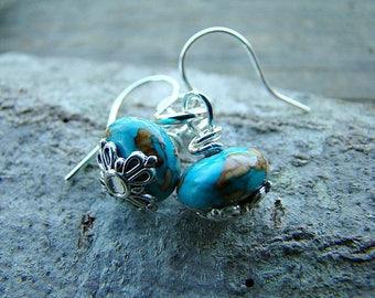Turquoise Earrings, Minimalist, Everyday Earrings, Beaded Earrings, Bohemian Jewelry, Gift For Her, Dangle Earrings, Gemstone Earrings